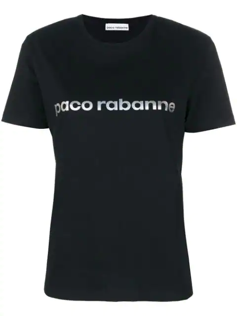 Paco Rabanne Logo Printed Cotton Jersey T-Shirt In Black