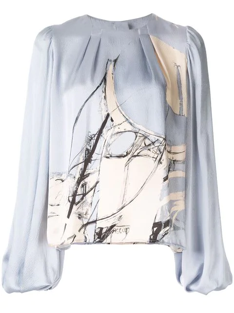 Aje Thurlow Printed Blouse - Blue