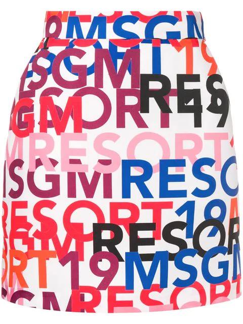 Msgm Logo Print A-Line Skirt In White