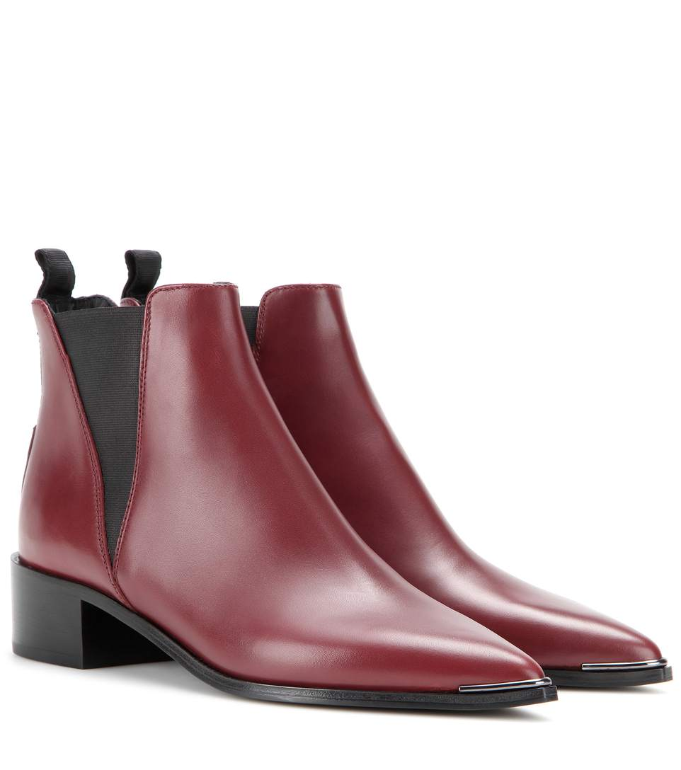 Acne Studios Jensen Leather Ankle Boots In Burgundy