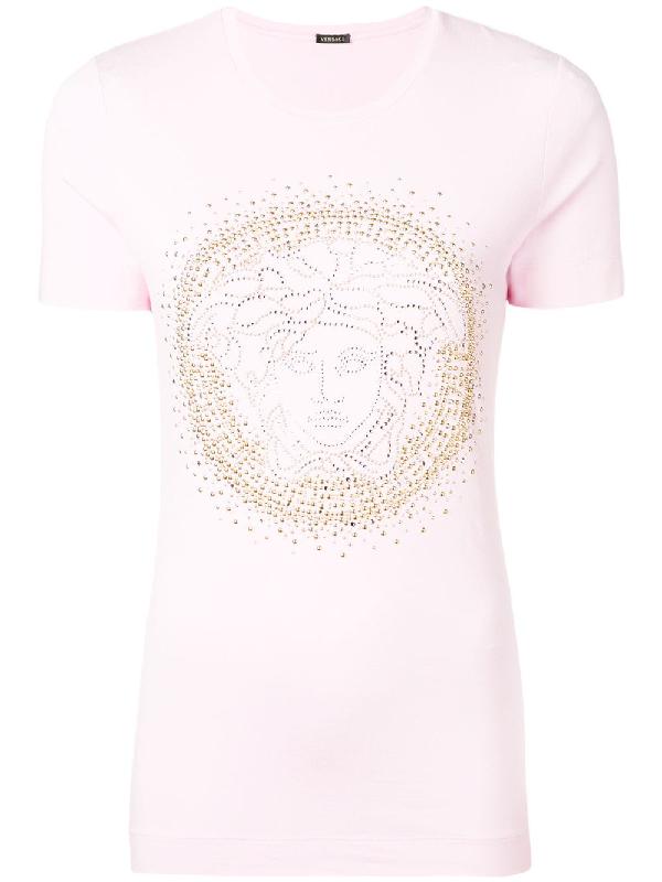 dc208f32 Versace Embellished Medusa Logo Tee In Pink | ModeSens