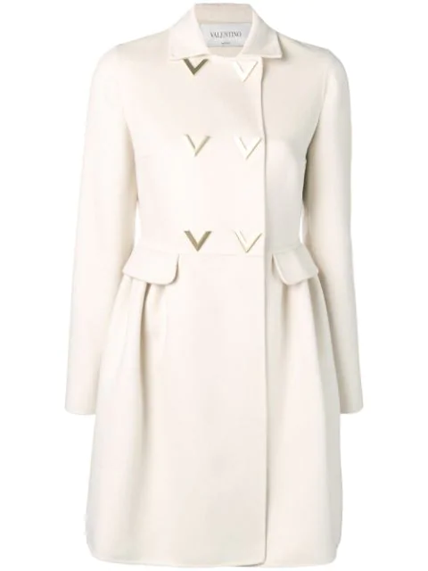 Valentino V Detail Trench Coat In Neutrals