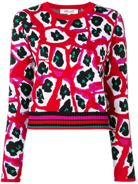 Diane Von Furstenberg Printed Knit Jumper In Red