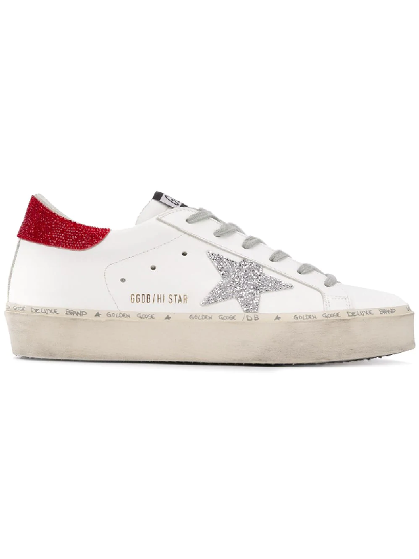 85c83a86af6 Golden Goose Limited Edition Hi Star Leather Platform Sneakers With  Swarovski Crystals In White