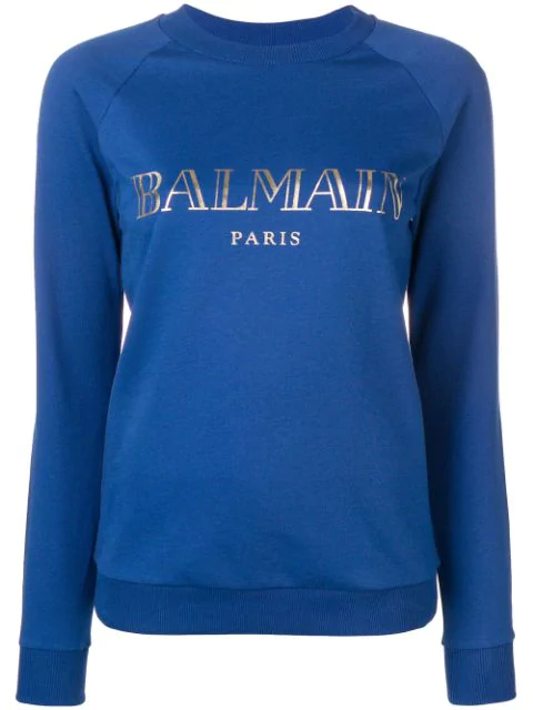 Balmain Logo Print Sweatshirt In Blue