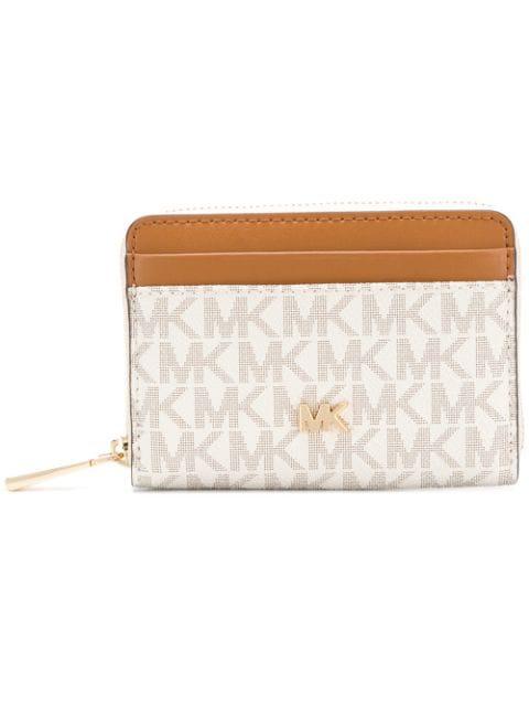 Michael Michael Kors Monogram Zipped Wallet In Neutrals