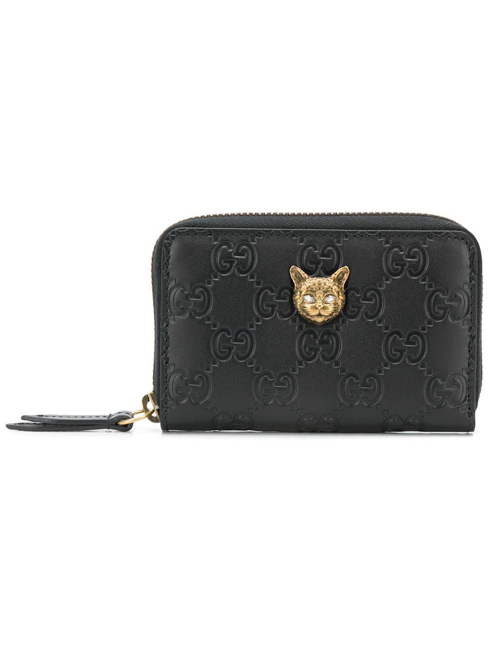 45c99e89795 Gucci Signature Card Case With Cat - Black