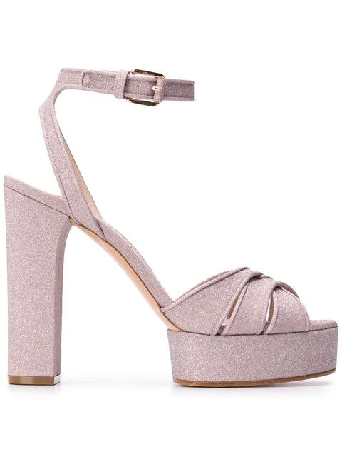 Casadei Glitter Platform Sandals In Neutrals