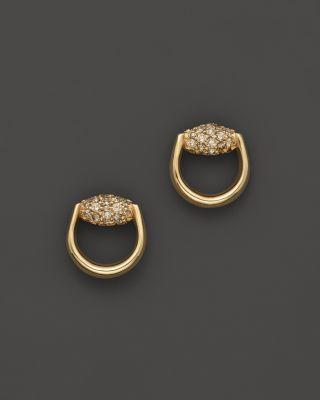 df14b828d Gucci Horsebit Stud Earrings In 18K Yellow Gold With Brown Diamonds ...