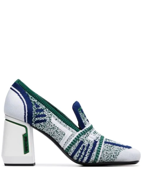 Prada Knit Fabric Loafers In White