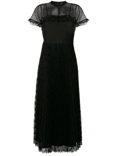 Studded Yoke Lace Skirt Maxi Dress In Black