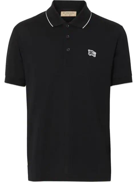 Burberry Tipped Cotton PiquÉ Polo Shirt In Black