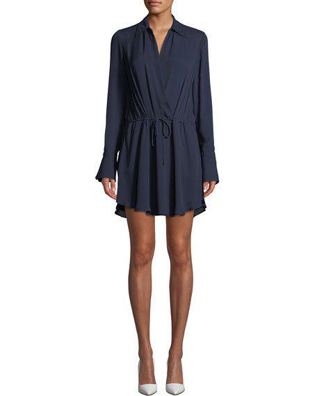 A.L.C Isobel V-Neck Long-Sleeve Silk Dress In Dark Blue