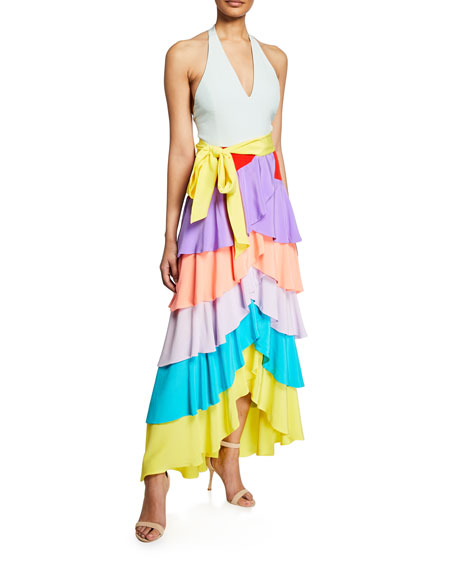 Alice And Olivia Elmira Halter-Neck Ruffle Tiered Gown In Multi