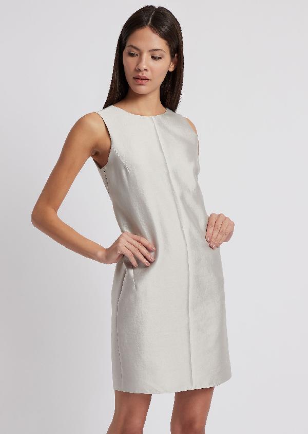 a07bae74e44 Emporio Armani Chalk Sleeveless Cotton-Silk Sheath Dress In Light Gray