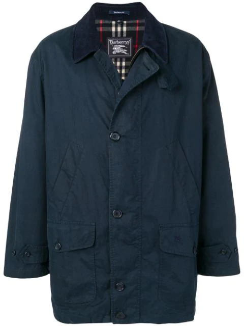 Burberry 1990's Multi-pockets Coat In Blue