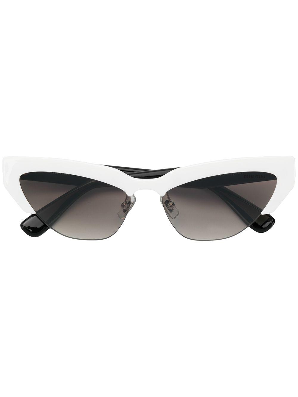 b7183cf643f Miu Miu Eyewear Cat-Eye Shaped Sunglasses - White