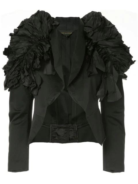 Pre-owned Comme Des Garçons Ruffled Shoulder Cropped Jacket In Black