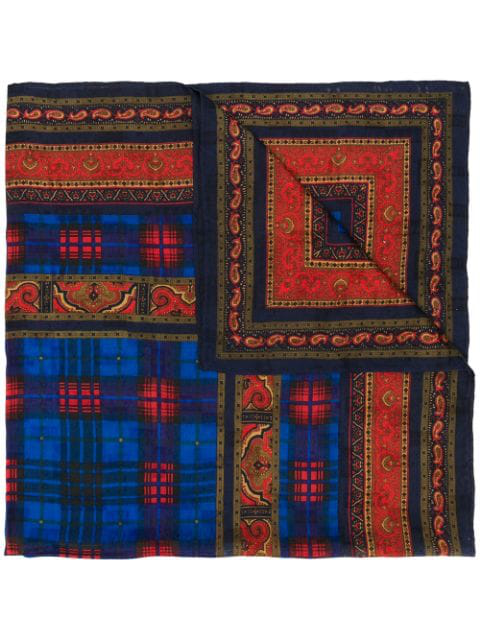 Saint Laurent Checked Paisley Scarf In Blue
