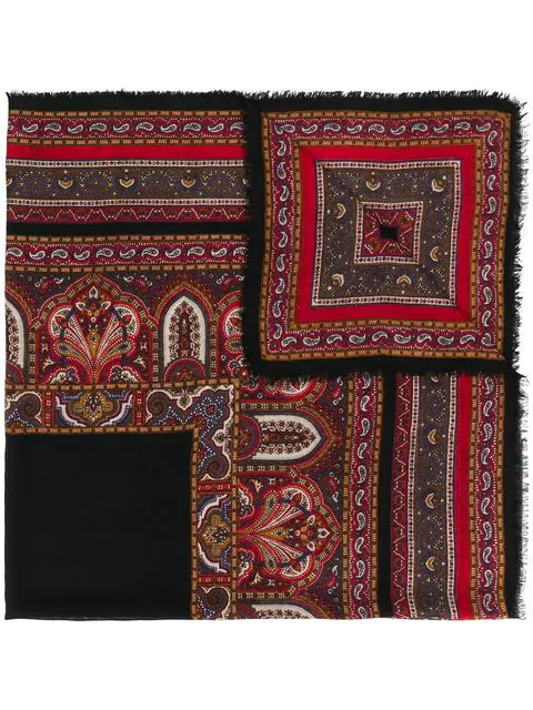 Saint Laurent Paisley Pattern Scarf In Red