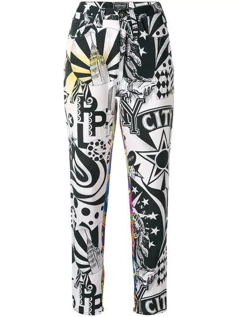 Versace New York Printed Trousers In Multicolour