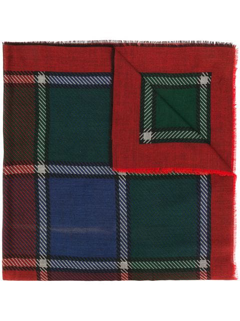 Saint Laurent Checked Frayed Scarf In Red