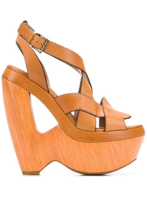 Alaïa 2000's Cutout Wedge Sandals In Brown