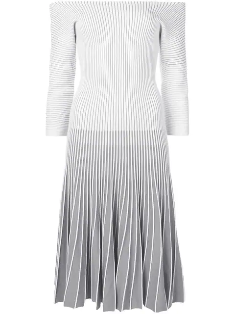 Alaïa 2000 Striped Dress In Grey