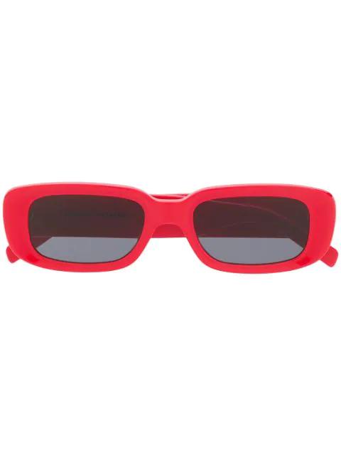 Off-white Small Square Frame Sunglasses In 红色