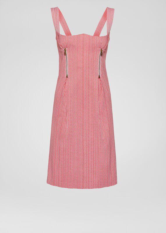 Versace Pied De Poule Zip Pleated Dress In Print