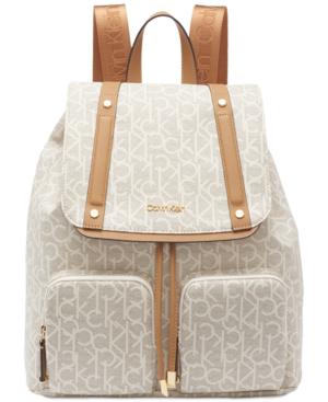 98c34724230 Calvin Klein Hudson Cargo Signature Backpack In Almond Khaki/Cashew/Gold