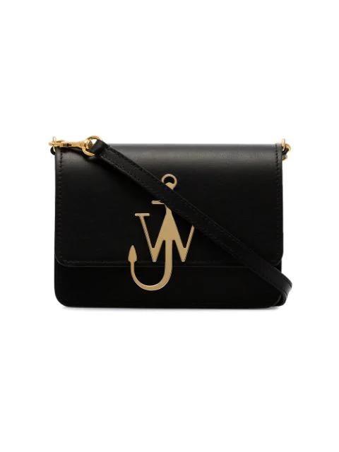 Jw Anderson Anchor Logo Plaque Crossbody Bag In Black