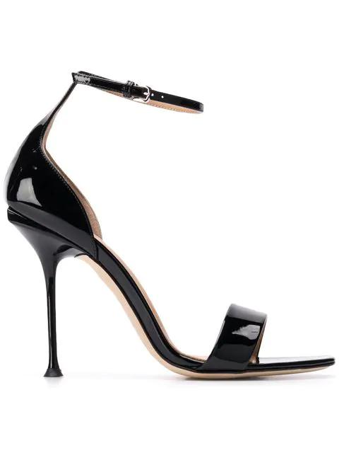 Sergio Rossi Black Patent Leather Sandals