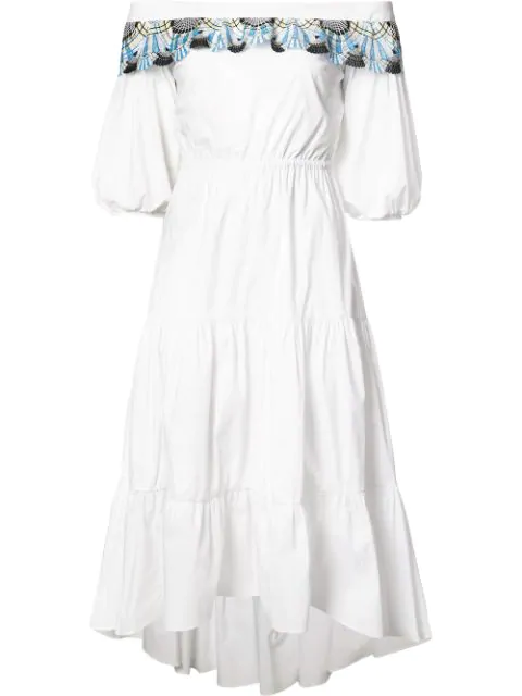 Peter Pilotto Off-the-shoulder MacramÉ Lace-trimmed Cotton Dress In White