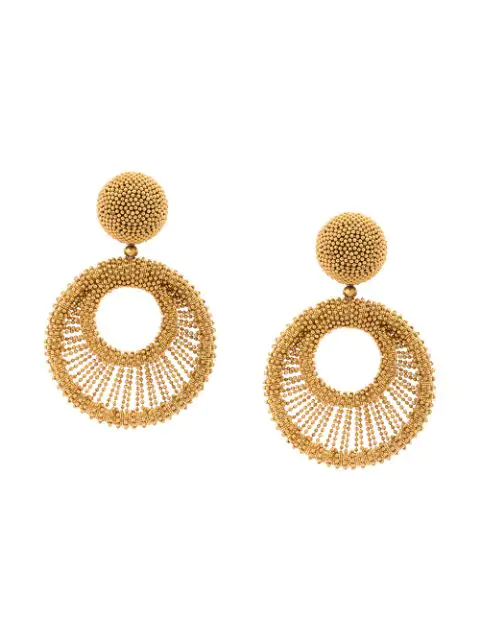 Oscar De La Renta Beaded Hoop Earrings In Gold