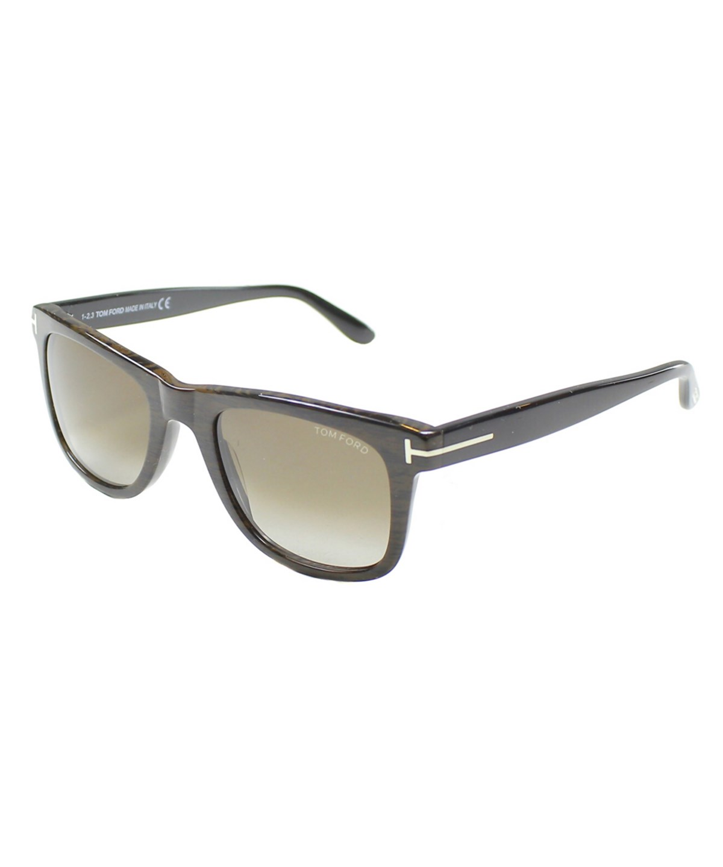 Tom Ford Leo Square Plastic Sunglasses In Brown