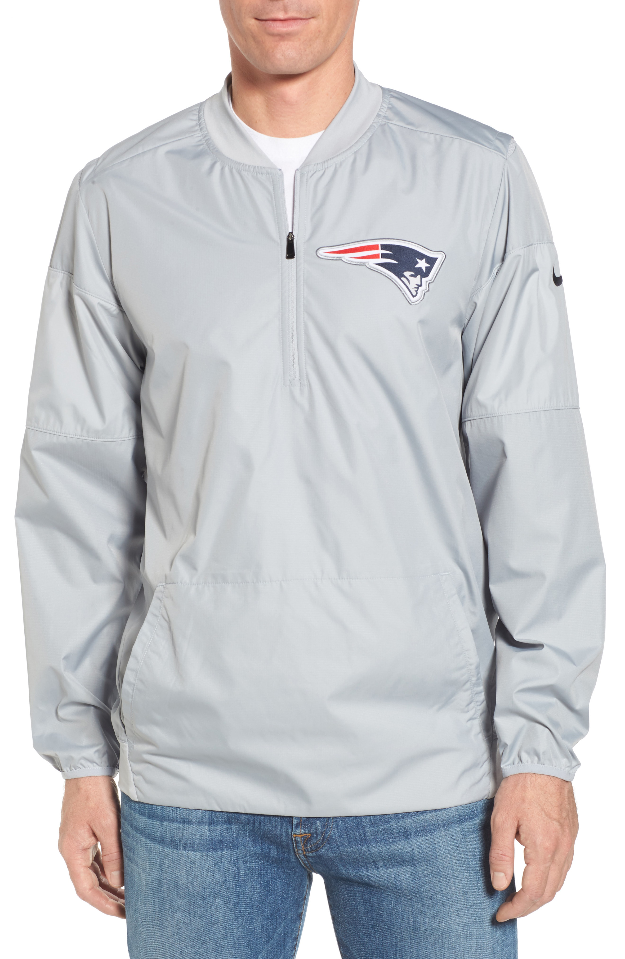competitive price e4a50 7e9c1 Lockdown New England Patriots Pullover Jacket in Patriots Grey