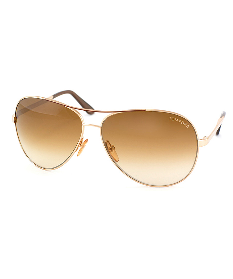 Tom Ford Charles Pilot Metal Sunglasses In Gold Brown