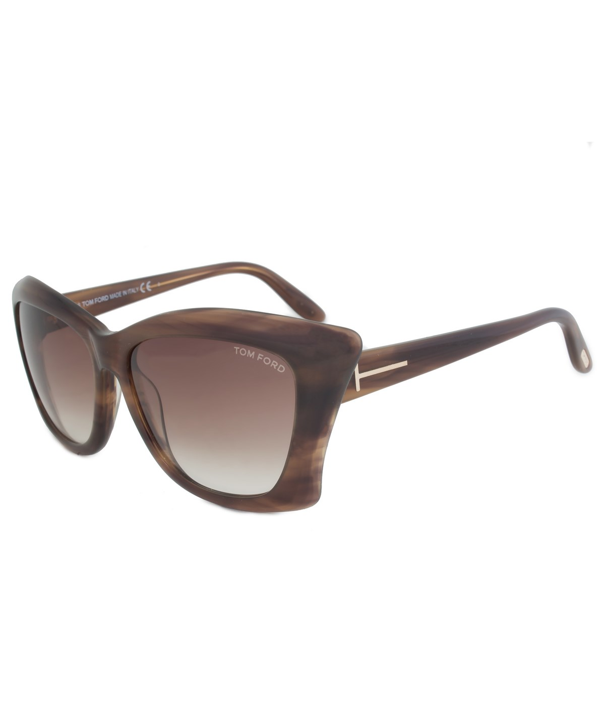 Tom Ford Lana Asian Fit Ft9280 50f Brown Striated Cat-eye Sunglasses In Striped Brown