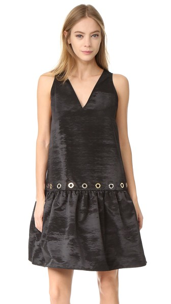 Kenzo Taffeta Shift Dress With Grommets In Black