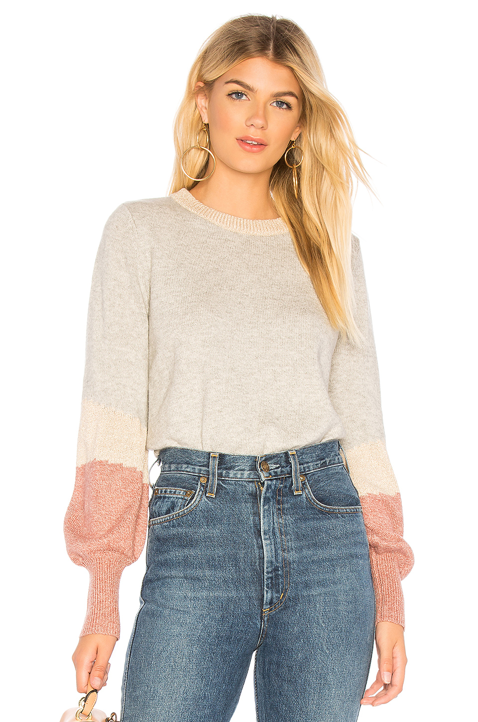 Cupcakes And Cashmere Grenville Balloon Sleeve Sweater, Heather Grey