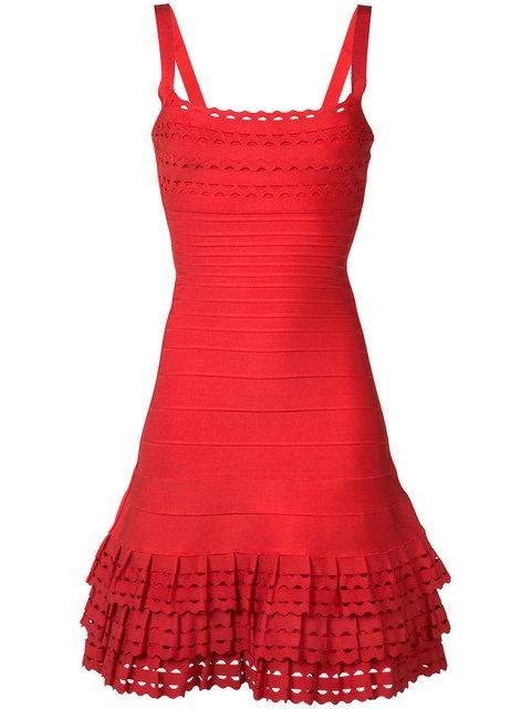 Herve Leger Laser Cut Ruffle Hem Bandage Dress In Bright Poppy