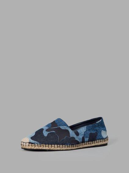 Valentino Camo-print Denim Espadrilles In Blue