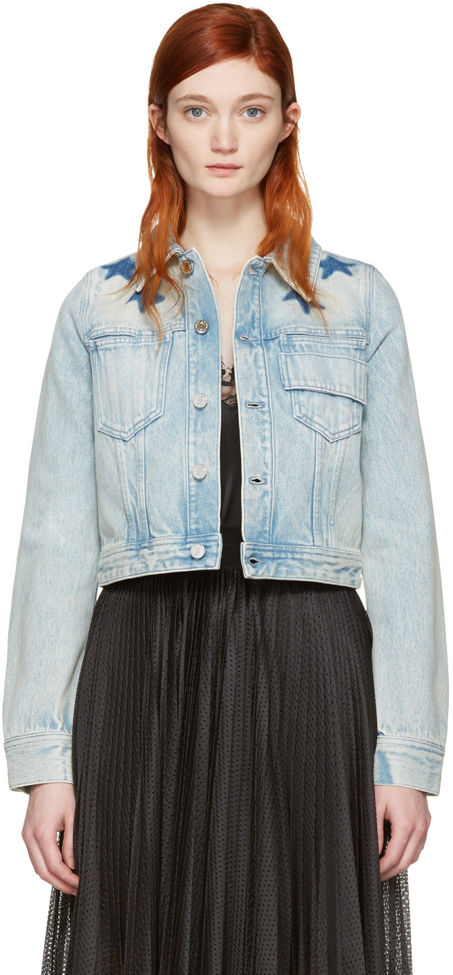 Givenchy Star Print Bleached Jacket In Blue