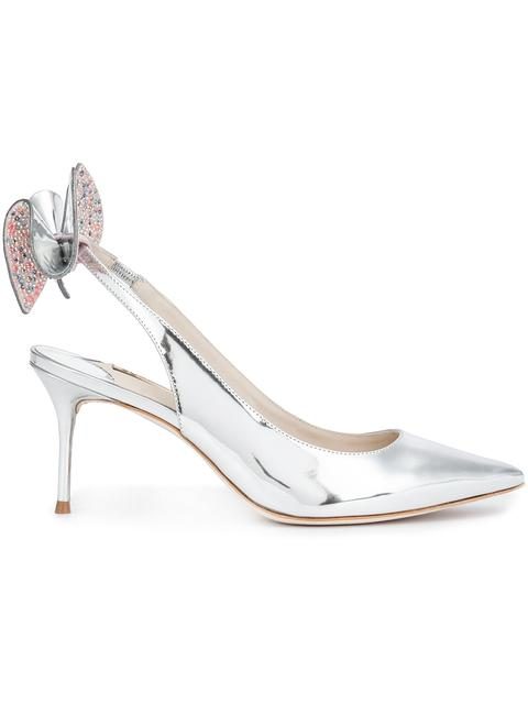 Sophia Webster Edie' Crystal 3d Bow Mirror Leather Slingback Pumps In Silver