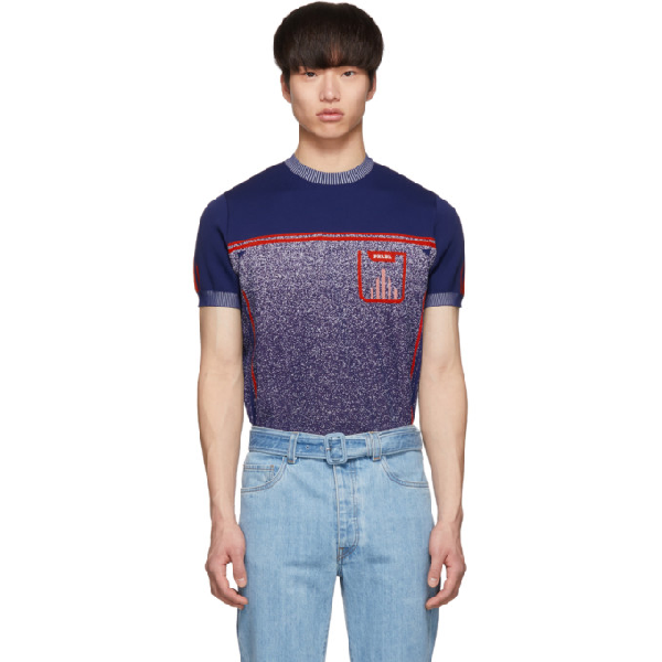 Prada Short Sleeved Logo Knit Sweater In Blue