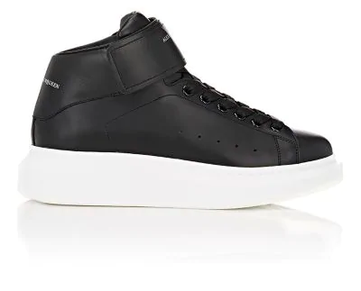 Alexander Mcqueen Exaggerated-Sole Leather High-Top Sneakers In Black