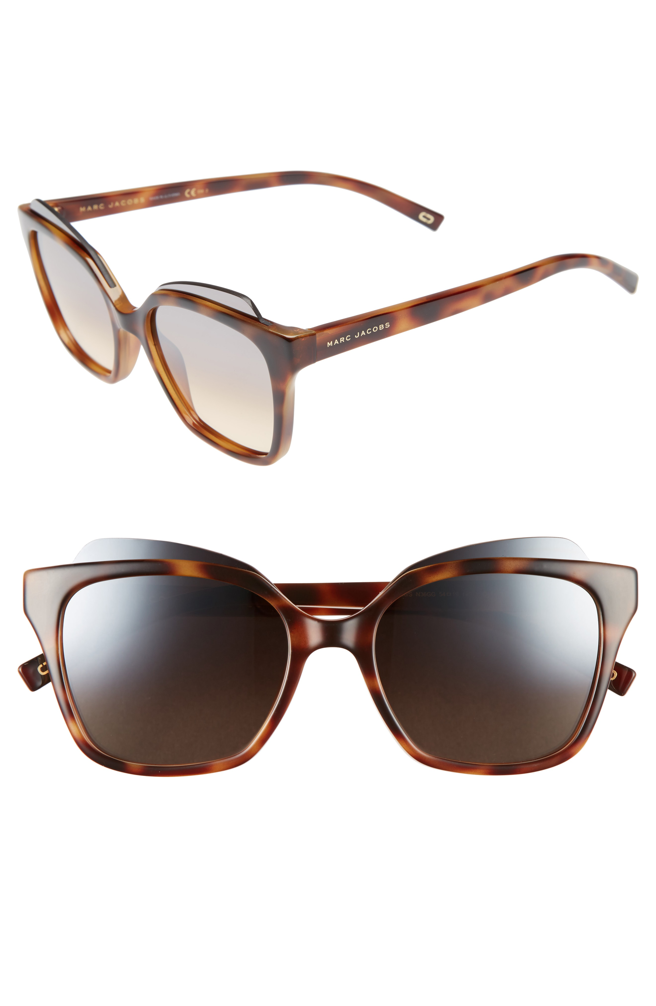 Marc Jacobs Square Capped Acetate Sunglasses In Brown Pattern