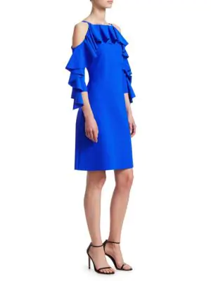 Chiara Boni La Petite Robe Marcellina Ruffle Dress In Cobalt