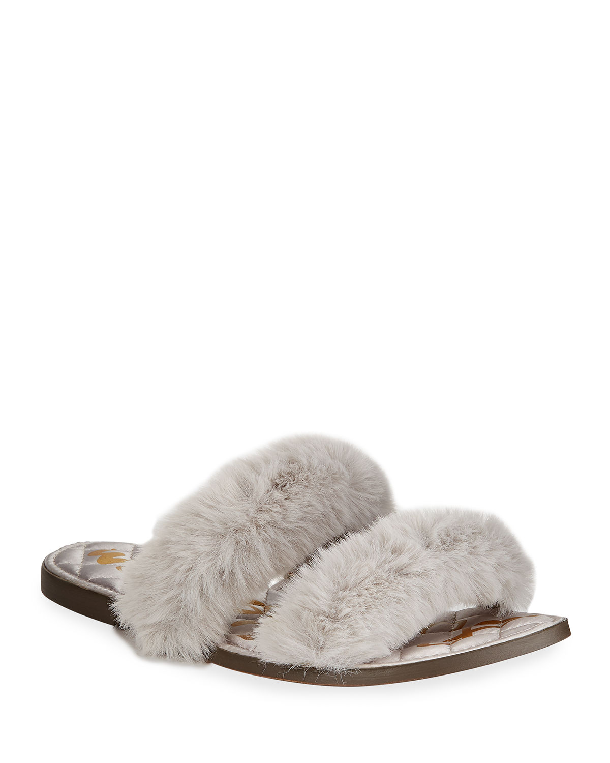 184bc55aed3a Sam Edelman Griselda Faux-Fur Sandals In Light Gray